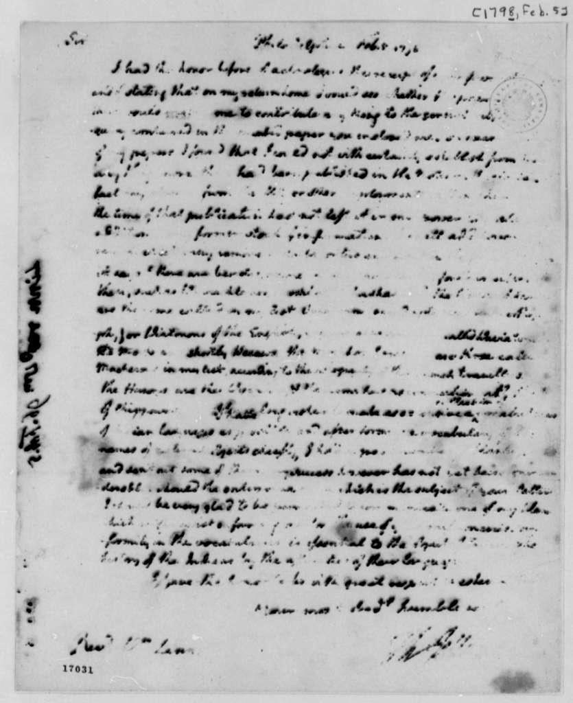 Thomas Jefferson to William Linn, February 5, 1796, Partly Illegible