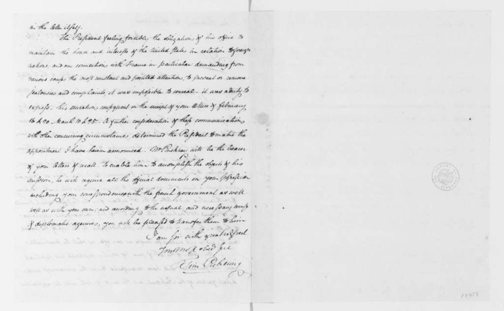 Thomas Pickering to James Monroe, August 22, 1796.