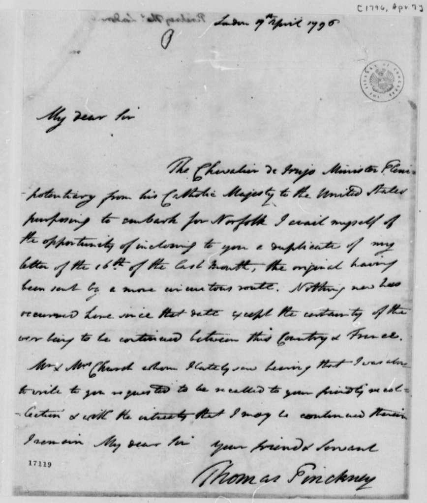 Thomas Pinckney to Thomas Jefferson, April 7, 1796