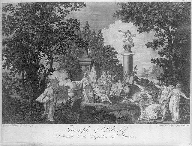Triumph of liberty. Dedicated to its defenders in America / drawn by Jn. Fis. Renault, N. York, September, 1795 ; engraved by P.C. Verger, N. York, November 1796.