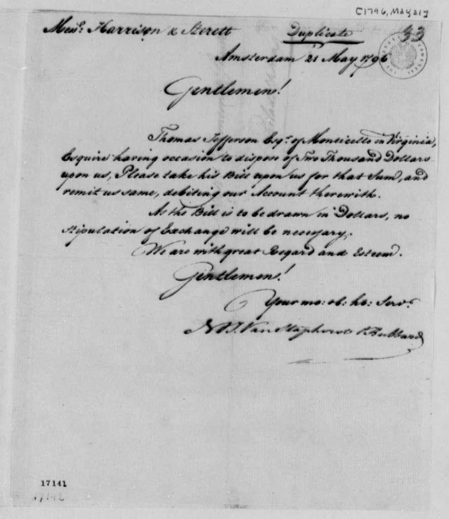 Van Staphorst & Hubbard to Richard Harrison, et al, May 21, 1796