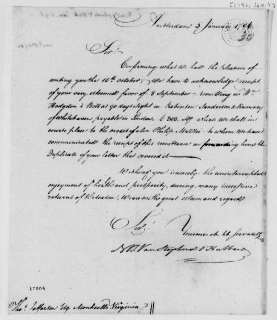 Van Staphorst & Hubbard to Thomas Jefferson, January 5, 1796