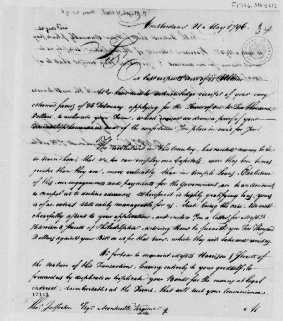 Van Staphorst & Hubbard to Thomas Jefferson, May 21, 1796
