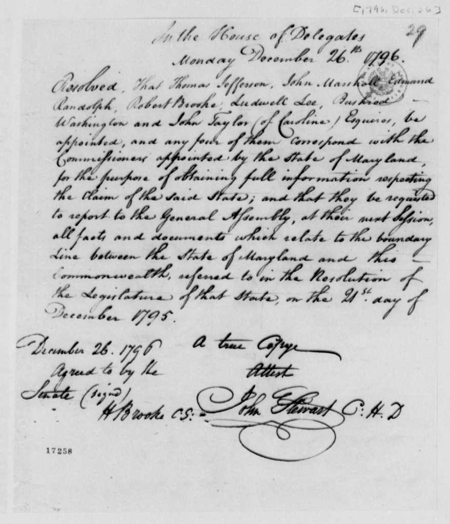 Virginia General Assembly, December 26, 1796, Boundary Resolution