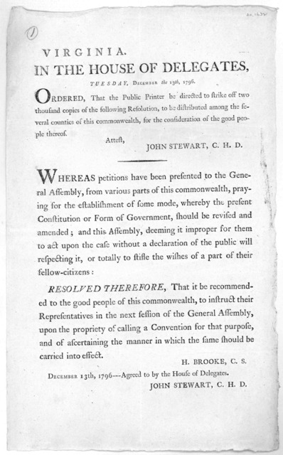 Virginia. In the House of Delegates. Tuesday, December the 13th, 1796. Ordered, that the public printer be directed to strike off two thousand copies of the following resolution, to be distributed among the several counties of this commonwealth