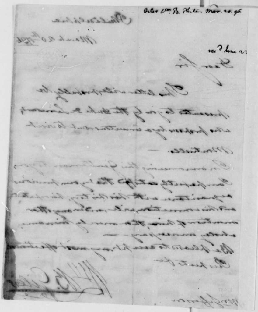 William Branch Giles to Thomas Jefferson, March 20, 1796