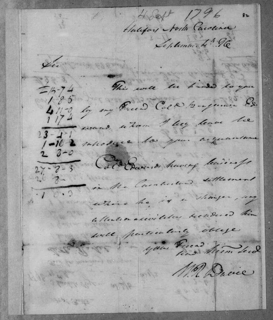 William Davie to Robert Hays, September 4, 1796