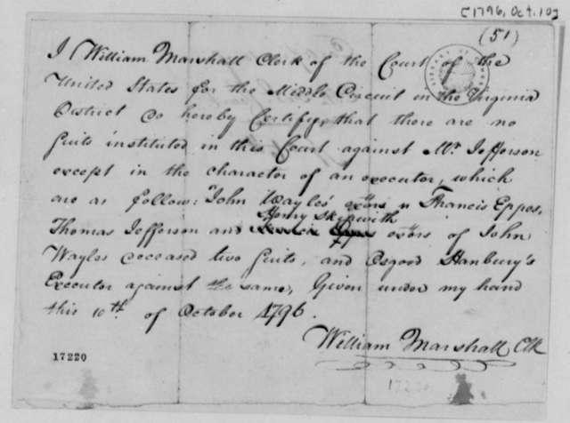 William Marshall to Thomas Jefferson, October 10, 1796