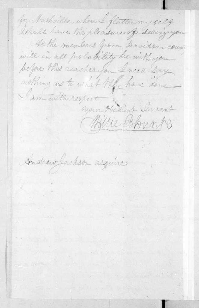 Willie Blount to Andrew Jackson, April 24, 1796