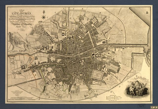 A plan of the city of Dublin : as surveyed for the use of the division[a]l justices to which have been added plans of the canal harbour and its junction with the Grand Canal, the Royal Canal, and every projection and alteration to the present time, 1797 /