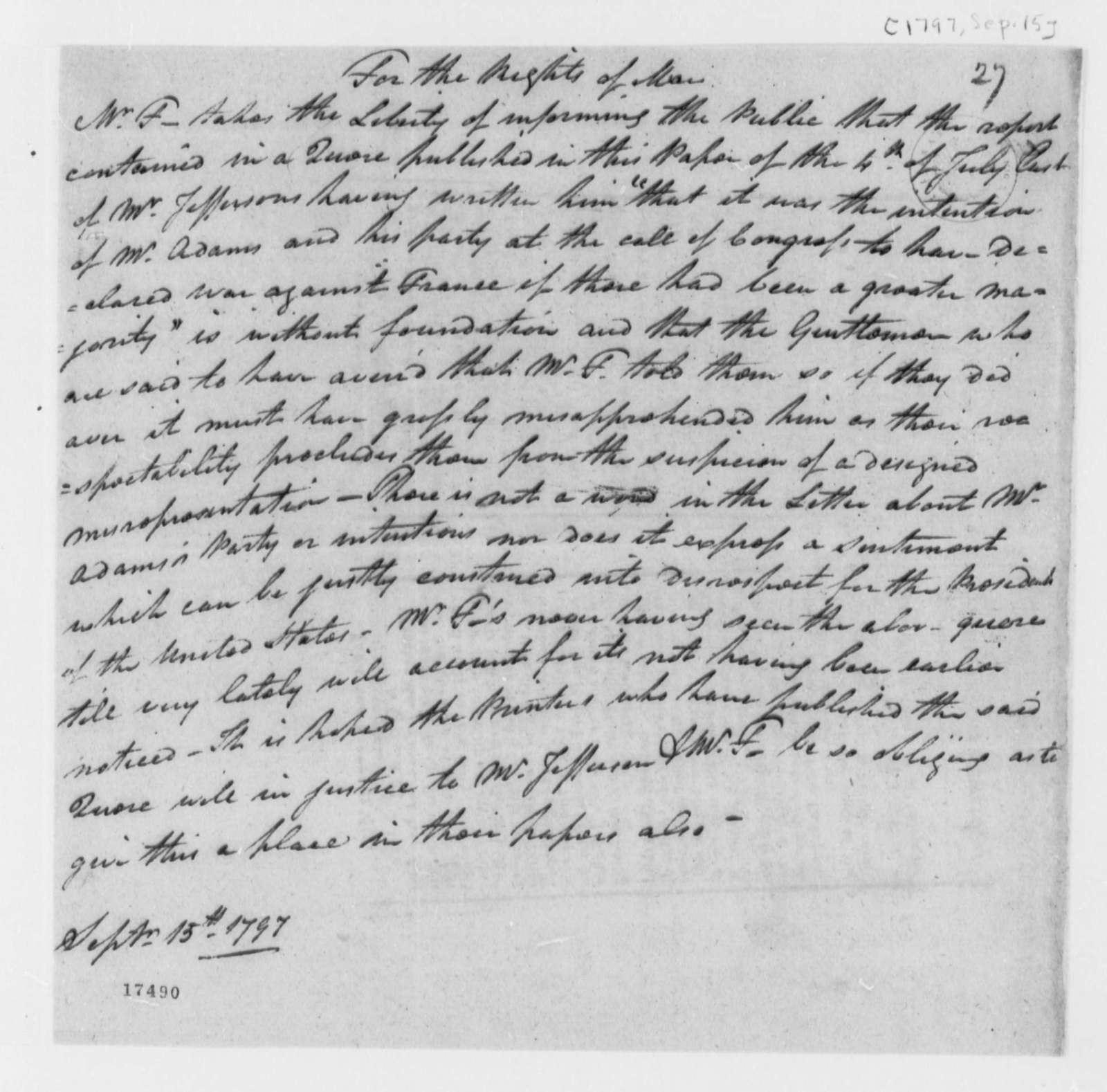 """Andrew Fitzhugh to Thomas Jefferson, September 15, 1797, Rights of Man Public Announcement from """"Mr. F"""""""