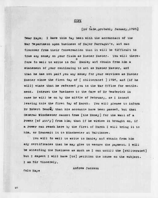 Andrew Jackson to Robert Hays