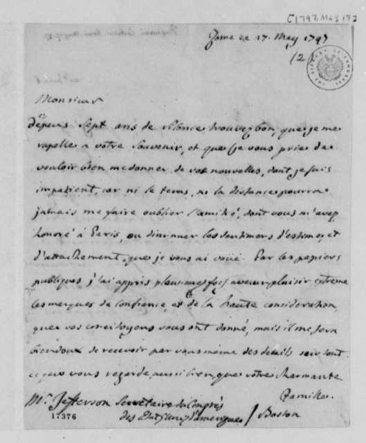 Antonio Dugnani to Thomas Jefferson, May 17, 1797, in French