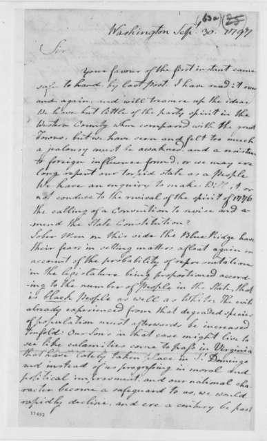 Arthur Campbell to Thomas Jefferson, September 30, 1797