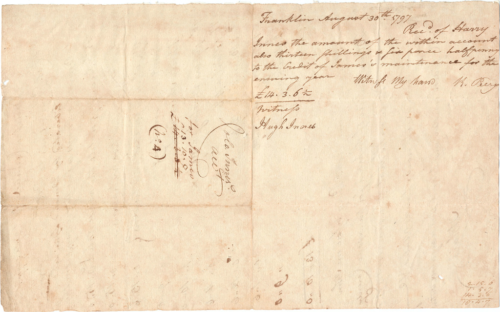 Bill and receipt from Robert Perry for the maintenance of James, an emancipated African American child