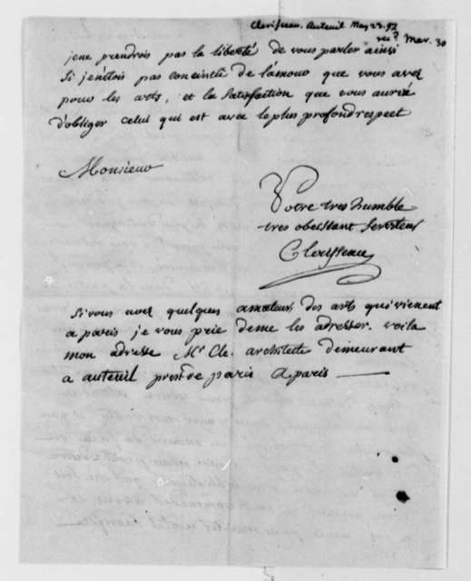 Charles Clerisseau to Thomas Jefferson, May 23, 1797, in French