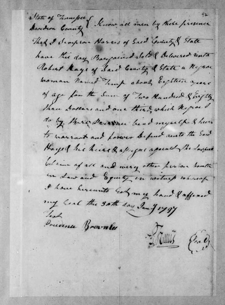 D. Harris to Robert Hays, January 30, 1797