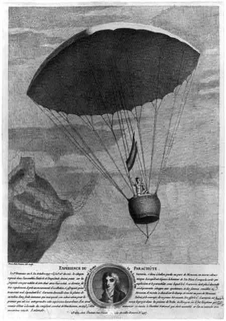 Expérience du parachûte. Le 1er Brumaire an 6 (22 octobre 1797. v.f.) à 5h. 28m. du soir, le citoyen Garnerin, s'éleva à ballon perdu au parc de Monceau ... / Simon Petit, peintre, del. sculp.