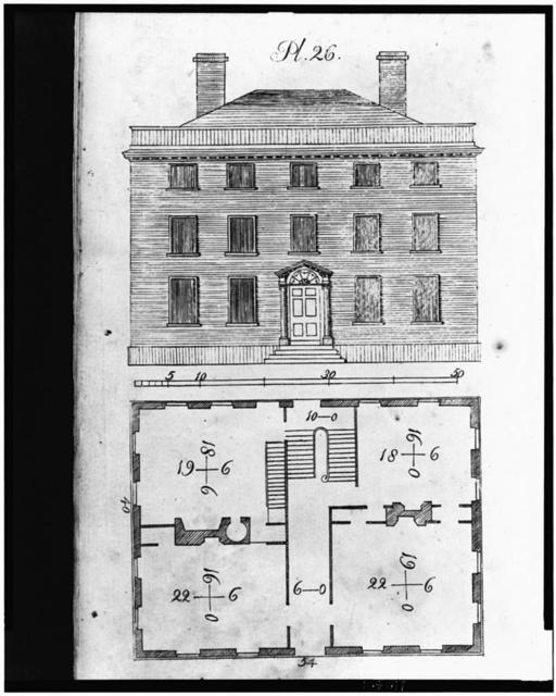 [Front facade and floor plan for 18th century building]