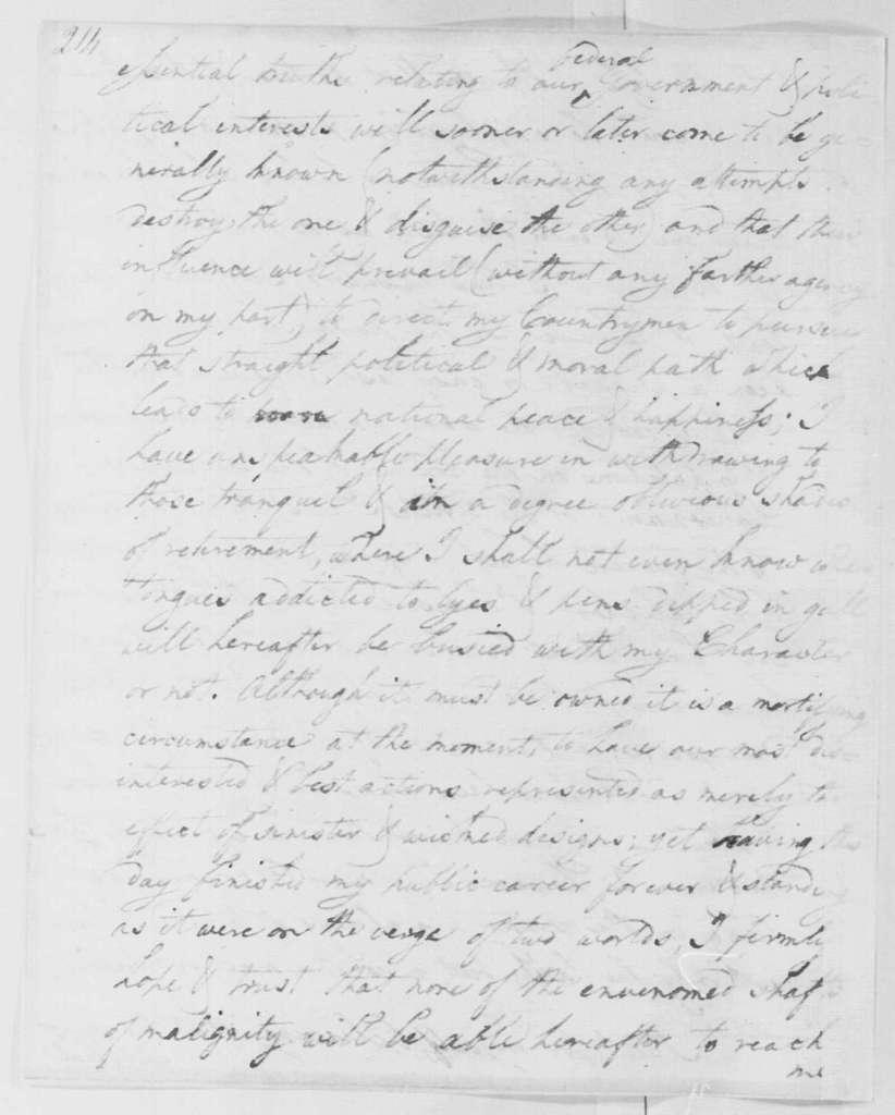 George Washington Papers, Series 4, General Correspondence: David Humphreys to George Washington, January 1, 1797, with Enclosure