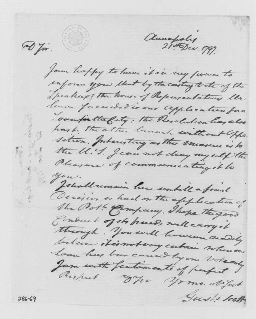 George Washington Papers, Series 4, General Correspondence: Gustavus Scott to George Washington, December 21, 1797