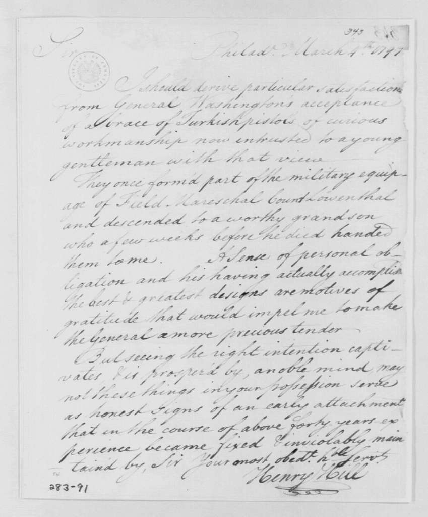 George Washington Papers, Series 4, General Correspondence: Henry Hill to George Washington, March 4, 1797
