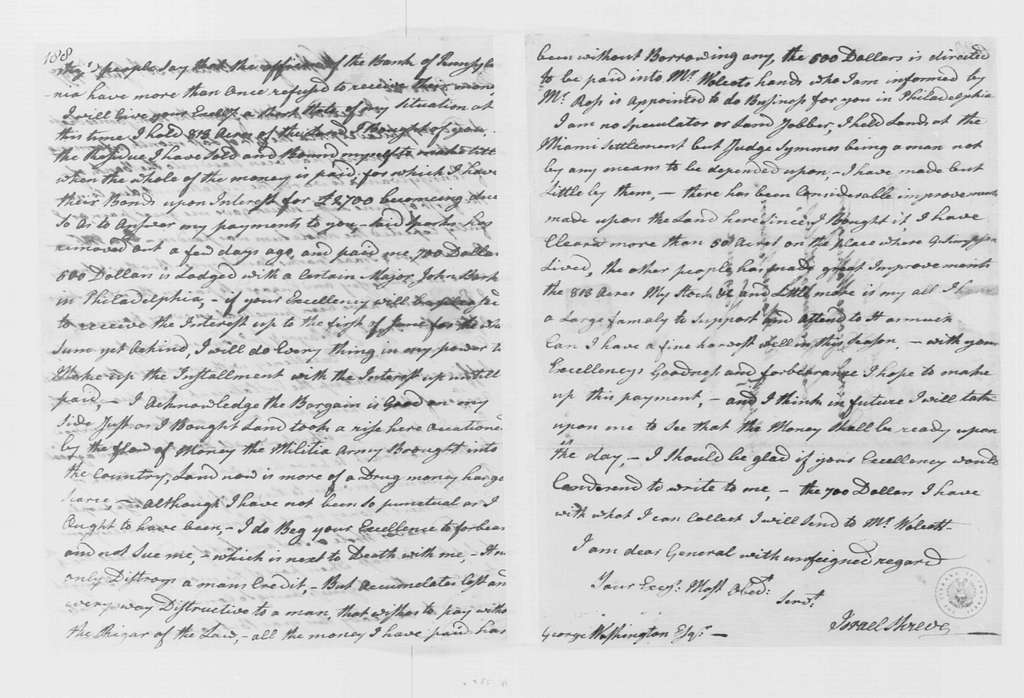 George Washington Papers, Series 4, General Correspondence: Israel Shreve to George Washington, July 30, 1797