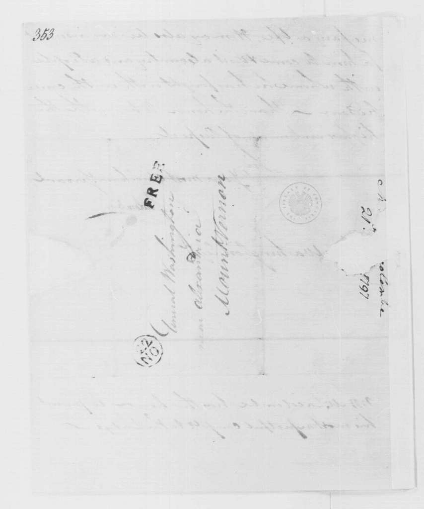 George Washington Papers, Series 4, General Correspondence: La Colombe to George Washington, November 21, 1797