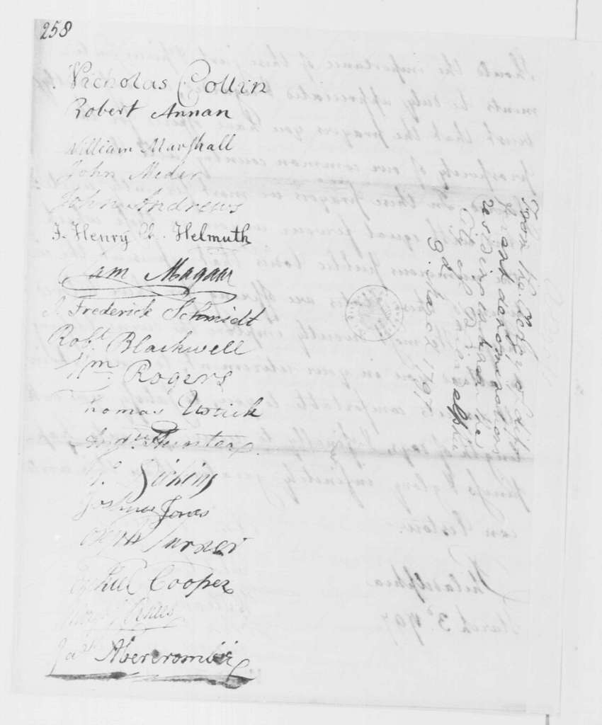 George Washington Papers, Series 4, General Correspondence: Philadelphia Protestant Clergy to George Washington, March 3, 1797