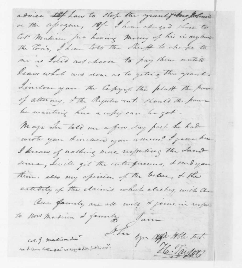 Hubbard Taylor to James Madison Sr., March 15, 1797.