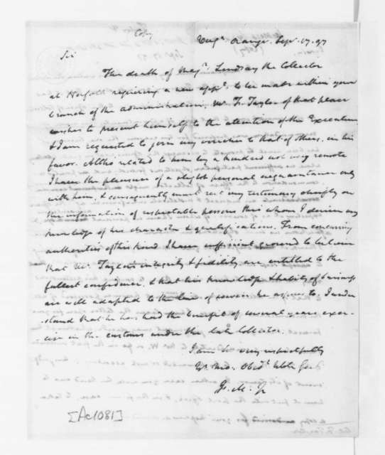 James Madison to Oliver Wolcott, September 17, 1797. On Verso F. Taylor Sept 17, 1797.