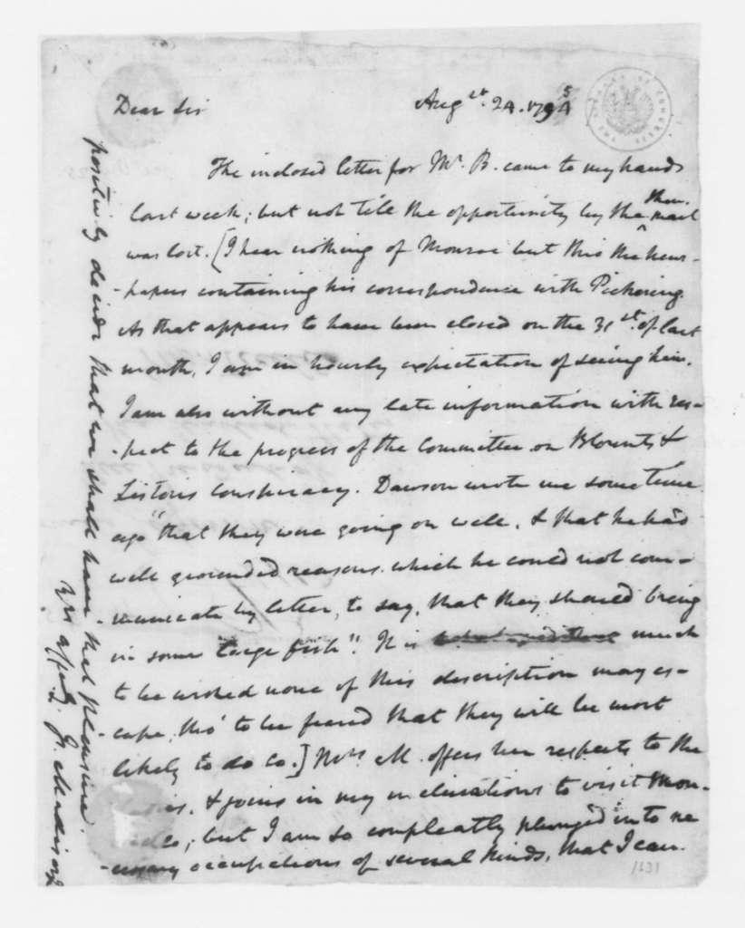 James Madison to Thomas Jefferson, August 24, 1797.
