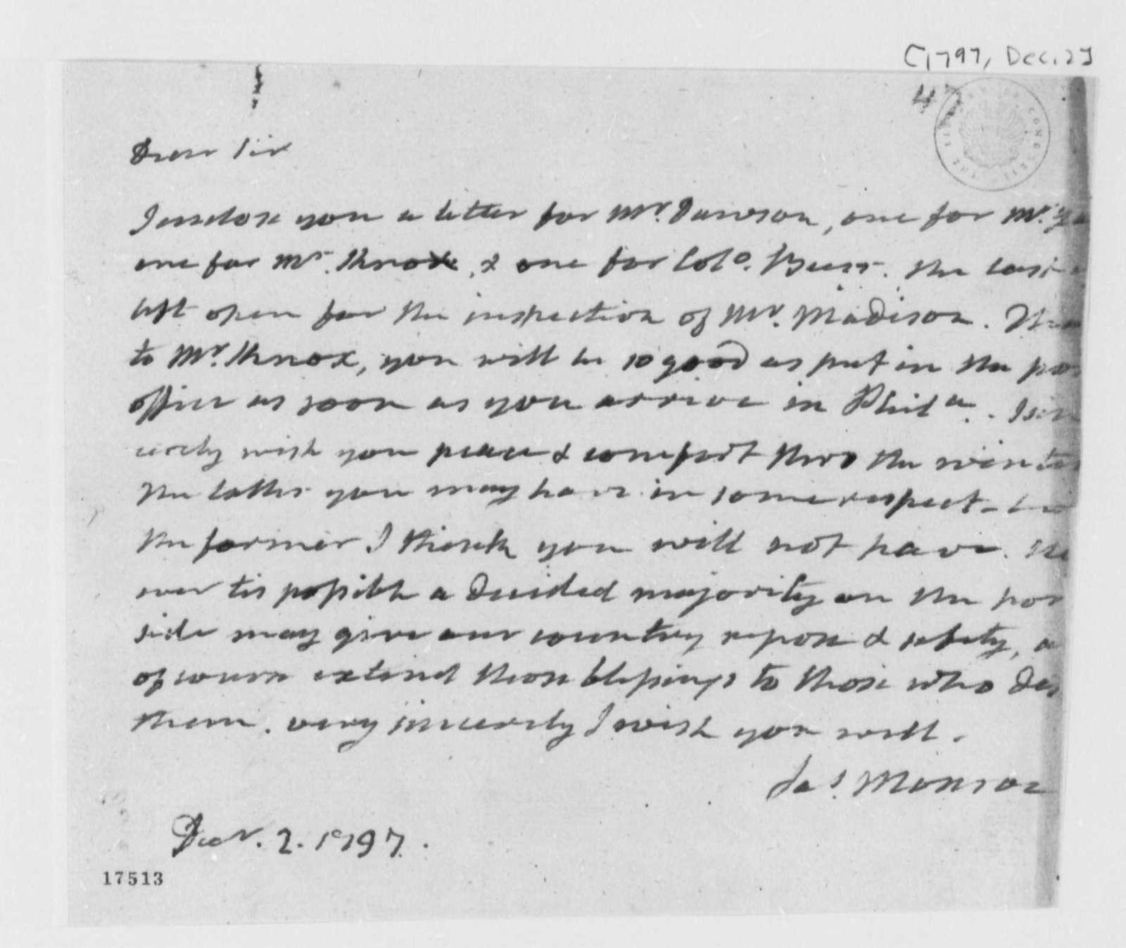 James Monroe to Thomas Jefferson, December 2, 1797