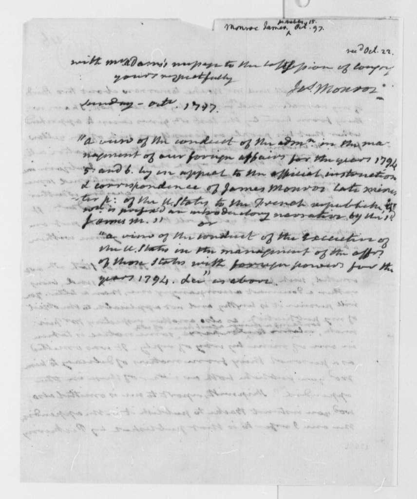 James Monroe to Thomas Jefferson, October 15, 1797