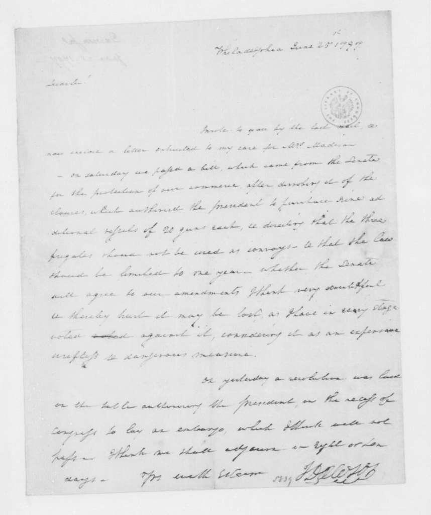 John Dawson to James Madison, June 25, 1797.