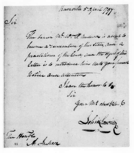 John Sevier to Andrew Jackson, April 5, 1797
