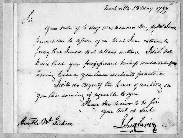 John Sevier to Andrew Jackson, May 13, 1797