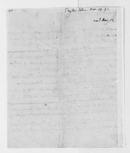 John Taylor to Thomas Jefferson, November 19, 1797