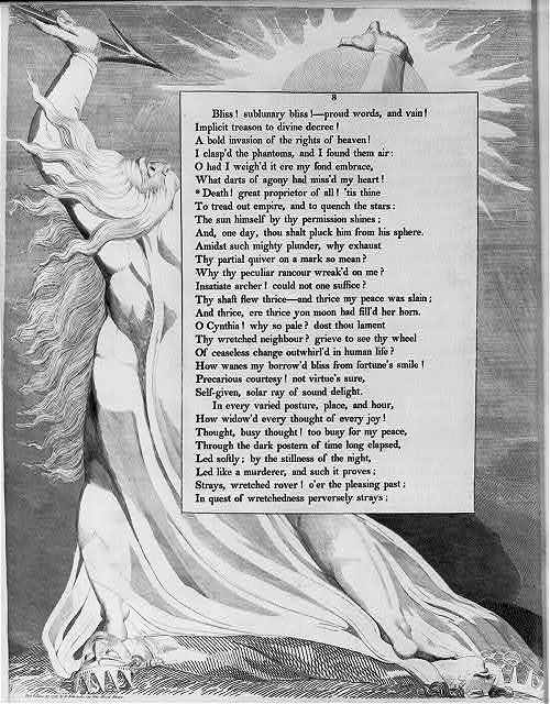 """[Poem: """"Death! Great proprietor of all!"""" framed with full figure of Death thrusting spear at the sun]"""