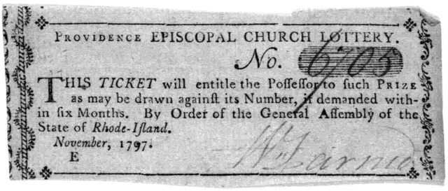 Providence Episcopal church lottery No. [6705] This ticket will entitle the possession to such prize as may be drawn against is number, if demanded within six months. By order of the General Assembly of the State of Rhode-Island. November, 1797]