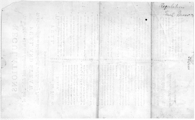 Regulations to be observed in the delivery and distribution of fuel and straw to the garrisons on the sea coast, and recruiting parties. Given at the War-office of the United States in Philadelphia, this twenty-sixth day of December, A. D. 1797.
