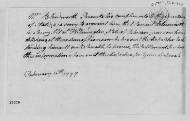 Samuel Bloodworth to Timothy Pickering, February 16, 1797