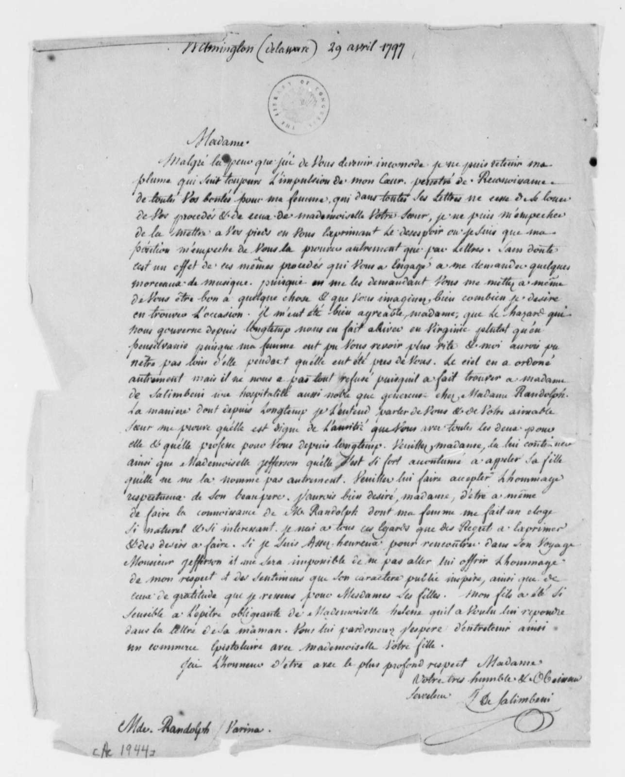 T. de Salimbeui to Martha Randolph, April 29, 1797, in French