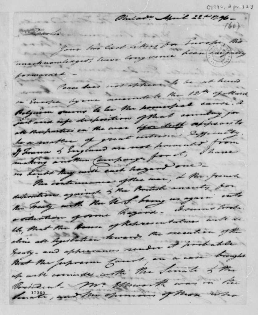 Tench Coxe to Thomas Jefferson, April 22, 1797