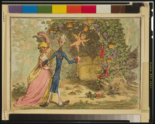 The nuptial-bower; - with the evil-one, peeping at the charms of Eden, from Milton / Js. Gy. inv. & fect.