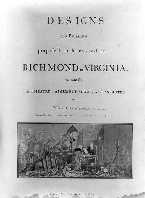 "[Theater and hotel building (""Theatre, Assembly Rooms and an hotel""), Richmond, Virginia. 3-Title Sheet with vignette]"