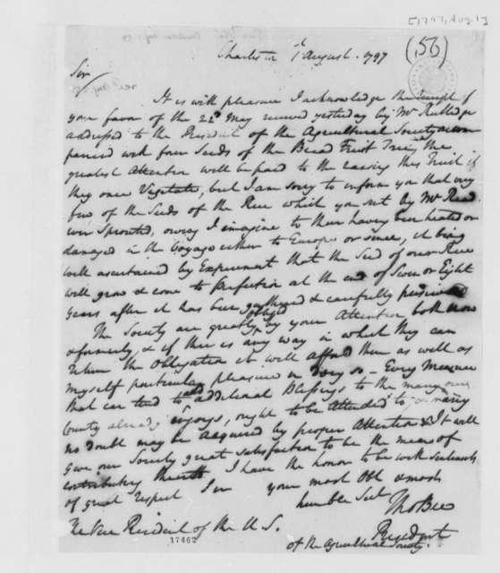 Thomas Bee to Thomas Jefferson, August 1, 1797