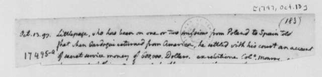Thomas Jefferson, October 13, 1797, Lewis Littlepage Note, Incomplete