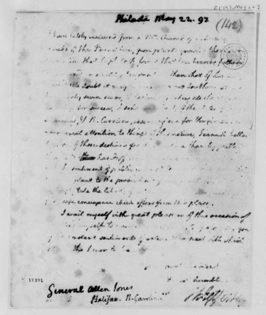 Thomas Jefferson to Allen Jones, May 22, 1797, Partly Illegible