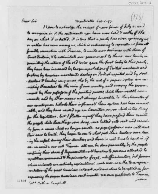 Thomas Jefferson to Arthur Campbell, September 1, 1797